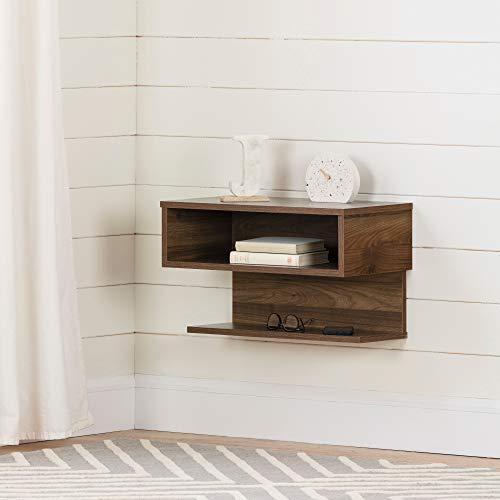 South Shore Furniture Sazena Floating Nightstand, Natural Walnut