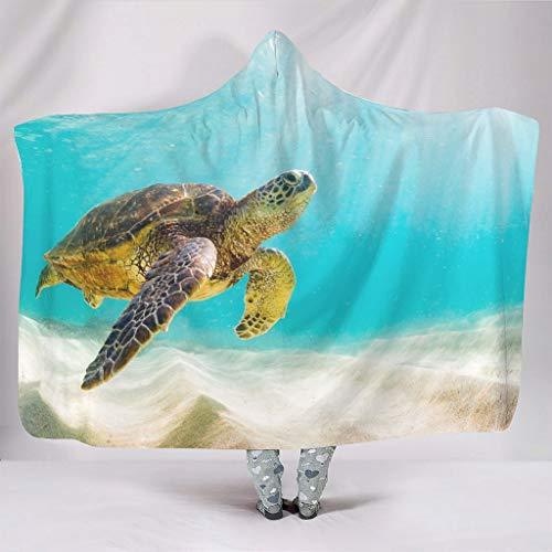 Manta de forro polar con diseño de tortuga, para adultos y niños, color blanco, 150 x 200 cm