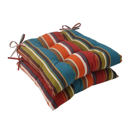 Pillow Perfect Outdoor/Indoor Westport Teal Tufted Seat Cushions (Square Back), 19' x 18.5', Stripe, 2 Pack