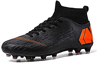 FDCX Soccer Boots Shoes for Big Boy - Turf Indoor Youth Football Shoes - High Top Ankle Boots Colorful Ribbon for Men - Outdoor Training TF/AG Black