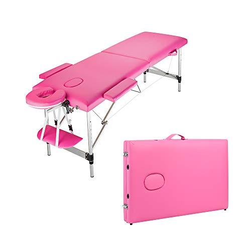 Table de Massage Pliante Professionnelle Legere Aluminium Housse Table Massage Lit Cosmétique avec Housse de Transport et Accessoires Massage 2 Sections Portable Ergonomique rose