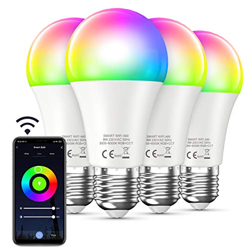 Bewahly Lampadina Alexa [4 Pezzi], E27 9W Lampadina WiFi Intelligente Led, RGB Colorate Smart Lampadine, Dimmerabile Multicolore e Bianco Freddo Caldo, 3000k-6000k, Compatibile con Alexa e Google Home