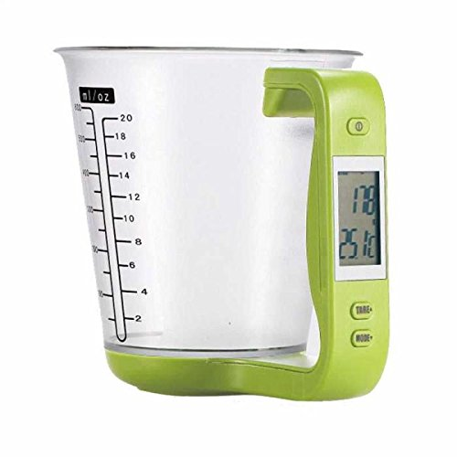 1Pcs Digital Kitchen Electronic Measuring Cup Scale Household Jug Scales with LCD Display Temp Measurement 16x12.5x13.5cm (Green)
