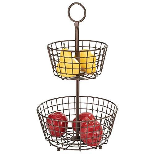 mDesign Cesta de frutas moderna – Canasta para frutas grande con 2 niveles para la mesa del comedor o la encimera de la cocina – Frutero metálico decorativo – color bronce