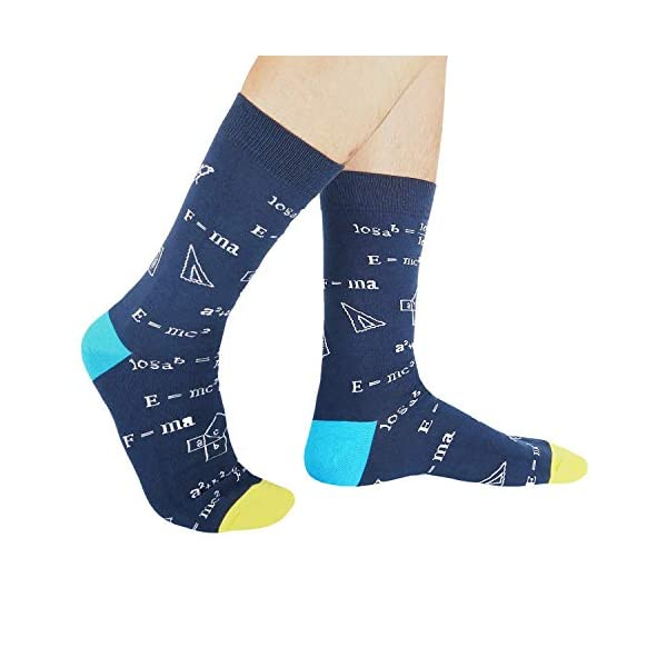 HAPPYPOP Men's Math Formula Chemistry Physical Nerdy Genius Socks,Novelty Design
