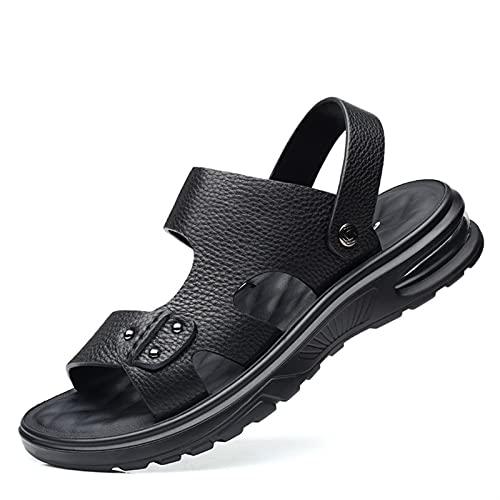 ANLEI Sandalias Hombre Sandalia Negra para Hombre Color sólido de Doble Uso Diapositiva Slide Slipper Flat out Transpirable Zapatos de Punta Abierta Air Cojín Negro Cómodo Suave