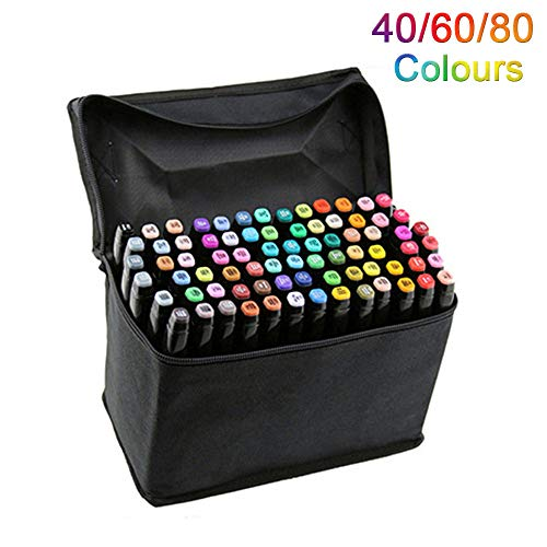 Artista Necessario grafico pennarello Double Ended Finecolour Sketch Marker largo e punta fine punta con il sacchetto nero (Nero 40 colori)