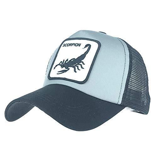 Baseball Cap Unisex für Damen Baseball Caps Herrenhüte Animal Stickmütze @ Scorpion schwarz + grau