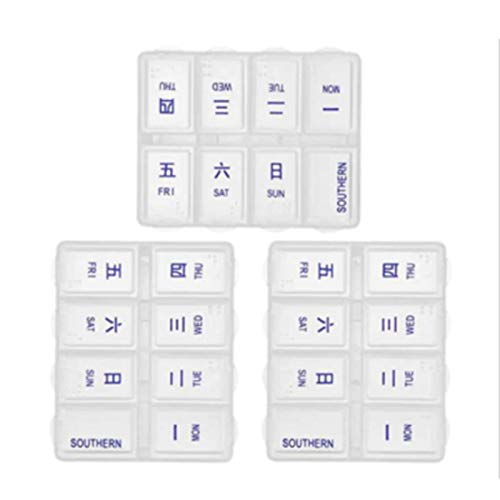 LKH Weekly Pill Organizer (Pack of 3), Travel (7-Day) Pill, Medicine, Vitamin Organizer Box, Daily Pill Cases for Pills/Vitamin/Fish Oil/Supplements(Size:B,Color:White)