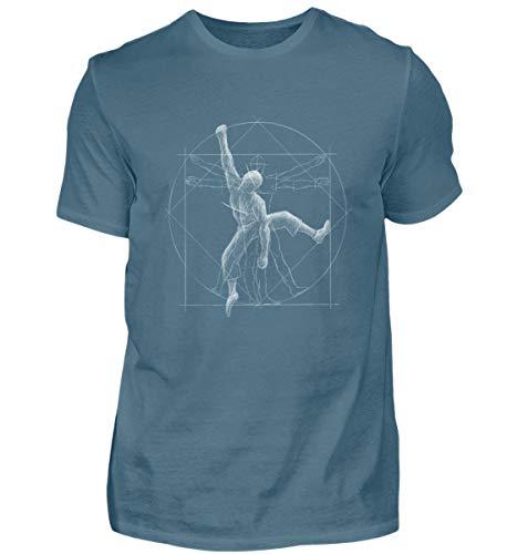 Shirtee Vitruvian Hombre Escalada - para Todos los escaladores y búlderes – Freeclimbing - Camisa de Hombre
