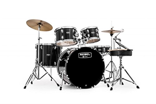 "Mapex RB5294FTCDK Rebel 5-Piece Drum Set with Hardware, Cymbals and 22"" Bass Drum - Black"