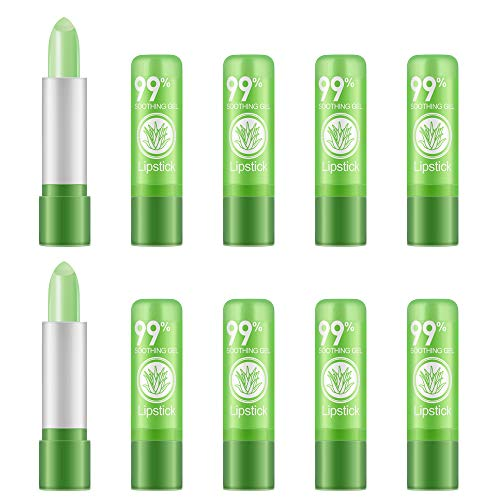 Ownest 10 Packs Aloe Vera Lipstick, Long Lasting Nutritious Soothing Lip Balm, Lips Moisturizing Magic Temperature Color Change Lipstick, Lip Care