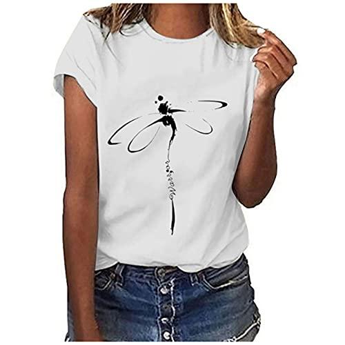 Sommer-T-Shirt für Damen, Vintage-Stil, lässig, sexy, lockere Passform, Rundhalsausschnitt, Tunika, kurzärmelig, Libellen-Print (Clearance,on Sale,!! Buy 5 Get 1 Free!!) - A01#weiß, size: Groß