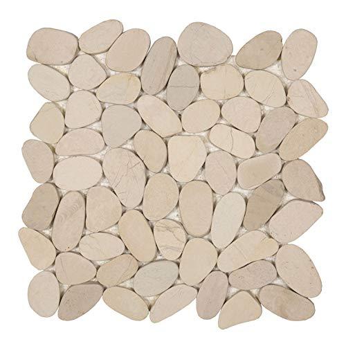 Pebble Flach Flußstein Kieselmosaik Kiesel Mosaik Fliesen Creme Natur