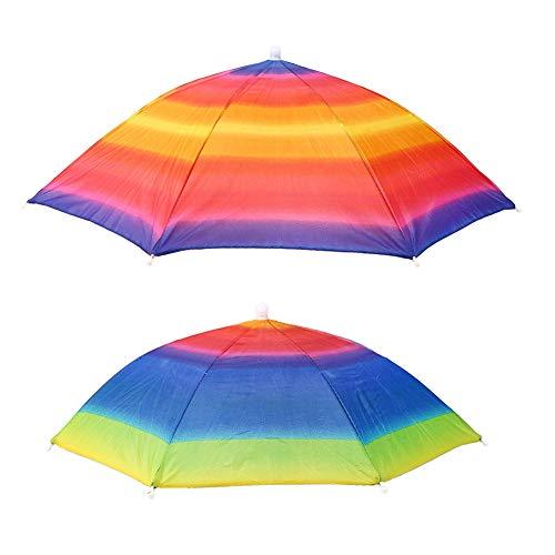 Cartoon schattige kleurrijke streep paraplu hoed kinderen speelgoed vissen accessoires, 76cm diameter.(Rainbow umbrella hat)
