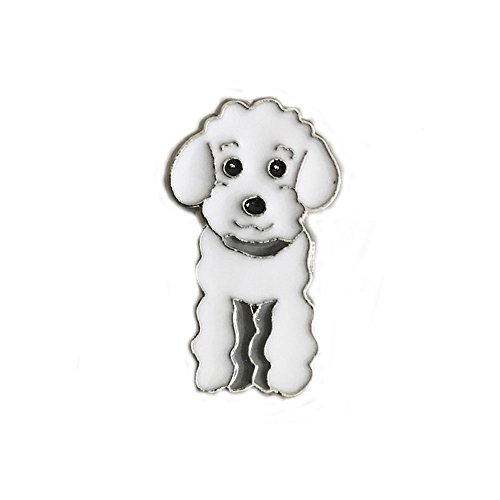 Lovely Pug DogBbearT Lovely Dog Brooch Pet Brooch Corsage Metal Pin Badge Dog ID Tags Christmas Birthday Gift 2PCS (White Poodle)