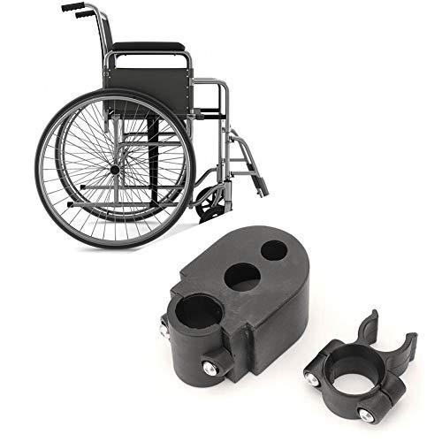 Accesorio de Soporte de muleta de bastón para bastón de Silla de Ruedas para Andador, sillas de Ruedas Soporte de bastón de bastón de bastón para Silla de Ruedas o bastón Negro