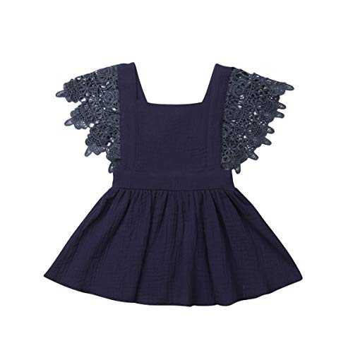 Toddler Baby Girl Infant Comfy Cotton Linen Lace Princess Overall Dress Sundress (Navy Blue, 3-4T)