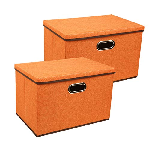Large Storage Box,Zonyon 17.7'' Sturdy&Strong Collapsible Fabric Storage Bin Container Bakset Home Cube Organizer with Removable Lid for Bedroom,Closet,Shelves,Office,Orange,2 Packs