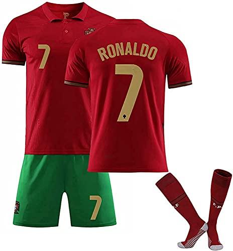 Camiseta Jerseys- Sportswear Home Jersey 2021 Portugal # 7, C.R.I.O.N.A.L.N.O R.O.N.A.L.D.O 7 # SOCTERS JERSEY, ADULTOS NIÑOS FÚTBOL FÚTBOL FÚTBOL Jersey Shorts con calcetines, niños rojos y adultos d