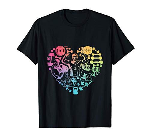 finess gym heart love Weight lifter Gym T Shirt Body Builder Camiseta