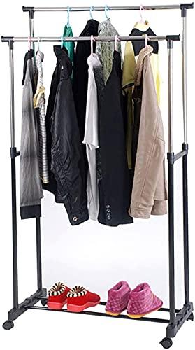 AllRight Kleiderständer auf Rollen Garderobenständer Kleiderwagen Höhenverstellbar Kleiderstange 92-160cm Rollgarderobe mit Schuhablage Schwarz