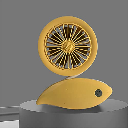 ventilador pequeño,Ventilador pequeño simple y creativo de carga USB, adecuado para estaciones portátiles de múltiples escenarios, mini ventilador de bobinado, amarillo