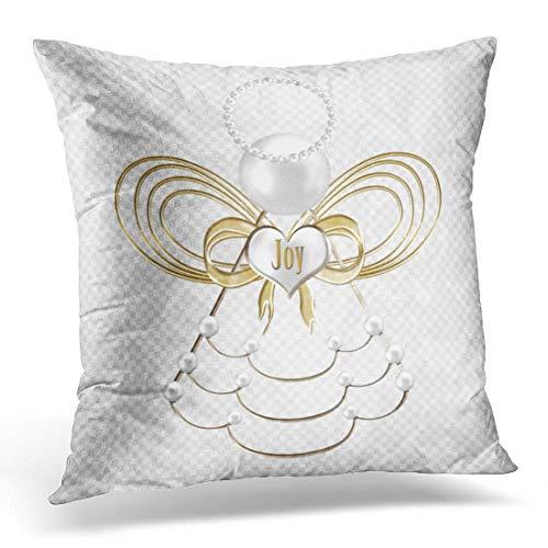 Cojín Decorativo Perlas navideñas Blancas ángel navideño metálico Dorado Funda Almohada Cuadrada Funda Almohada 18 '