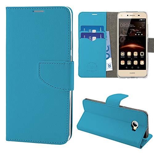 N NEWTOP Cover Compatibile per Huawei Y5 II/Y6 II Compact, HQ Lateral Custodia Libro Flip Chiusura Magnetica Portafoglio Simil Pelle Stand (Azzurra)