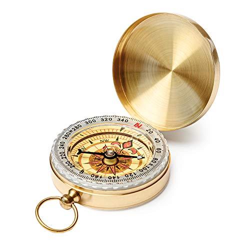 Qi Mei Camping Survival Compass Metal Pocket Compass Kids Compass for Hiking Camping Hunting Outdoor Military Navigation Tool(1pcs)