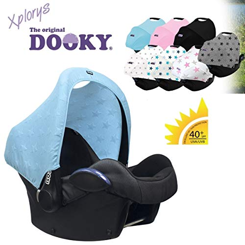 Original DOOKY HOODY ** Style UV+ ** Capote/Protège pare-soleil - universel pour siège auto Maxi-Cosi (Citi, Pebble, CabrioFix, Cabrio.), Römer, Cybex et autre (Knitted Star Blue)