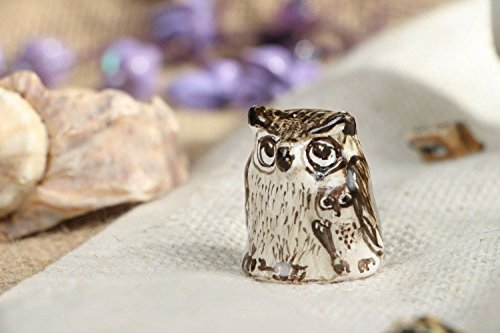 Ceramic Handmade Thimble in the Shape of an Owl Interior Decoration Ideas