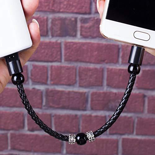 Línea de datos del teléfono móvil Cable de carga de la pulsera para iPhone Cable Lightning Tipo C Micro cuentas de joyería Cargador de pulsera Cable USB Cable de cuero de datos, para iPhone, negro