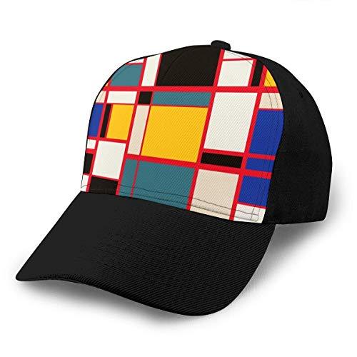 Mondrian Style 2 Gorra de béisbol Ajustable Unisex Gorras de Hip Hop Divertidas Sombrero de papá Negro