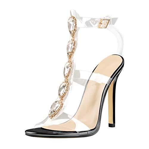 Yolkomo Women's Ankle Strap Stiletto High Heels Gem Clear Clear Lucite Strip Strappy Rhinestone Sandals Black Size5