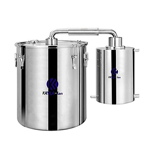 N/Z Home Equipment Destilador de Alcohol de Acero Inoxidable 304 de 50L Moonshine Still con Sistema de Doble refrigeración Kit de preparación casera con termómetro de Bomba de Agua