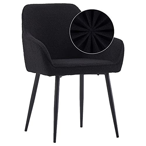 AINPECCA Esszimmerstuhl aus Teddy-Fleece, kuscheliges Fell mit Teddy-Fleece-Sitz, Bürostuhl, luxuriös, superweich, flauschig, Sitzfläche aus Fell (schwarz)