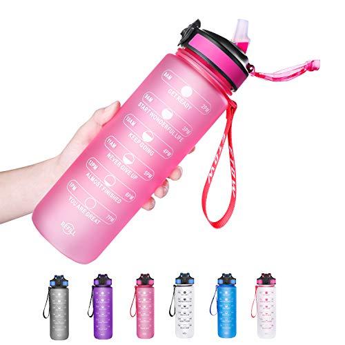 ETDW 1 Liter Tritan Trinkflasche Sport mit Zeitmarkierung, 1L Groß Sportflasche mit Strohhalme BPA Frei, Auslaufsicher Sportflasche ROSA