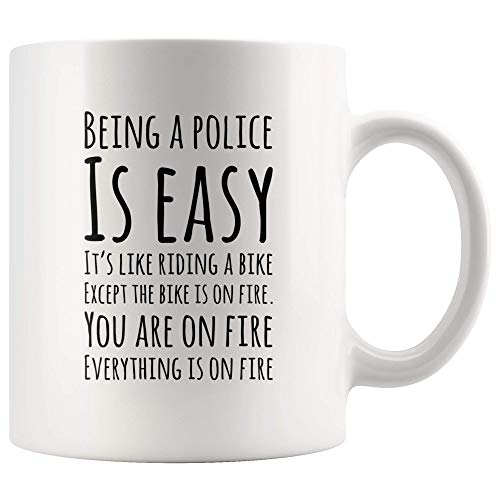 Gift for Police Officer Coffee Mug Being A Police Officer is Easy It's Like Riding A Bike Cup (Coffee Mug White) 11OZ