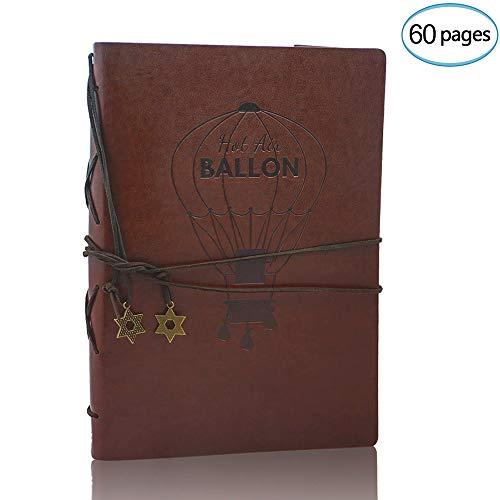 Amaze Photo Album Scrapbook, Vintage lederen Scrap Book Zwarte Pagina's Memory Guest Book, Kerstmis Valentijnsdag Verjaardagscadeau Huwelijksverjaardag cadeau voor Mannen Vrouwen Kids Hem, Kompas, Bruin Groot Balloon