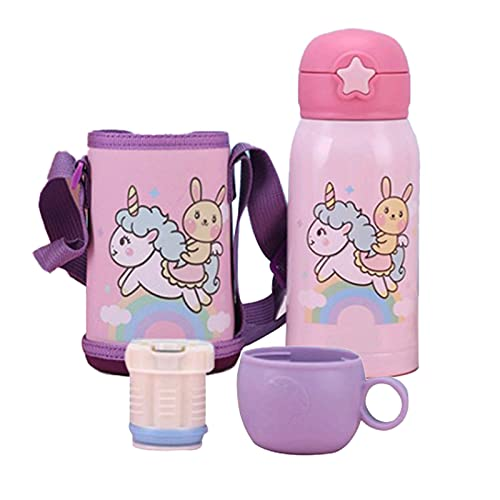 PUYEI Drei Deckel Kinder Isolierflasche Strohtopf Kindergarten Schüler Wasserbecher Edelstahl Isolierflasche Baby Anti-Fall tragbare Wasserflasche (Einhorn)