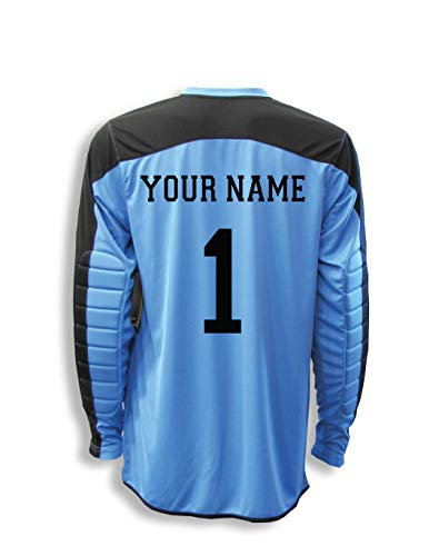 Diadora Enzo Goalkeeper Jersey Personalized with Your Name and Number - Sky Blue - Size Youth Large