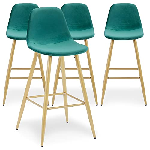 Menzzo Jody Set di sedie, Velluto, Verde, taglia unica