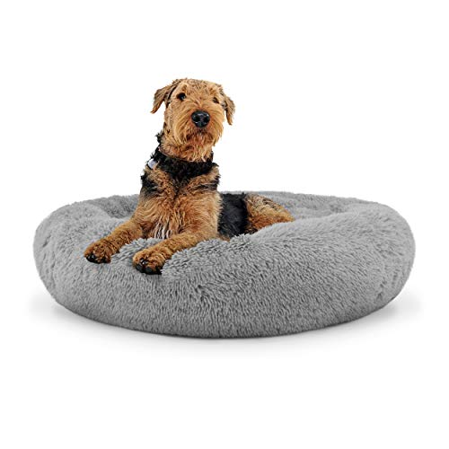 The Dog's Bed Sound Sleep Donut Dog Bed, Large Silver Grey Plush Removable Cover Premium Calming Nest Bed