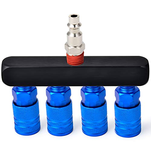 Taisher 4-Way Straight Air Manifold 5 Ports Aluminum Industrial Pneumatic Air Compressor Quick Connect Socket In Line Type Air Hose Splitter with 4 Couplers and 1/4' Male NPT Plug