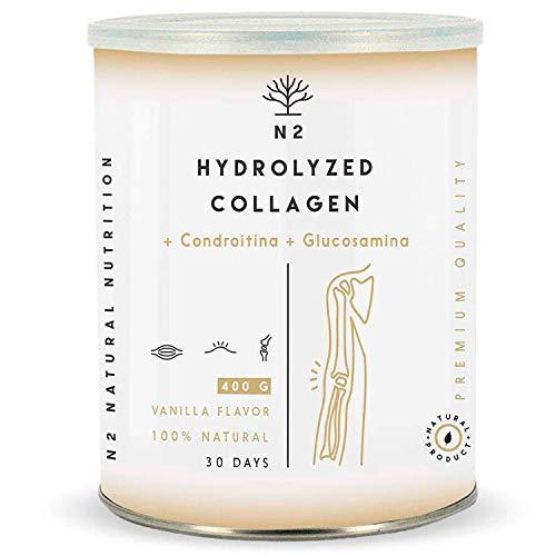 Colágeno Hidrolizado en Polvo Condroitina, Glucosamina Máxima Protección del Cartílago Fortalece Articulaciones Huesos y Piel Magnesio Ácido Hialurónico Vitamina C 400gr Vainilla N2 Natural Nutrition