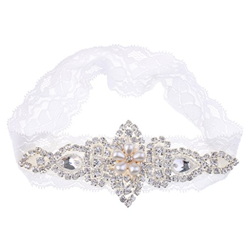 Hochzeit Strumpfband Kristall Strass mit Perle Vintage Strass Kristall Braut Satinband Strumpfbänder,weiß - Weiß L, L