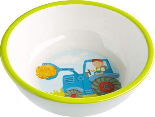 HABA 302819 - Schüssel Traktor, rutschfeste Kinderschüssel aus Melamin mit Traktormotiv, spülmaschinengeeignet