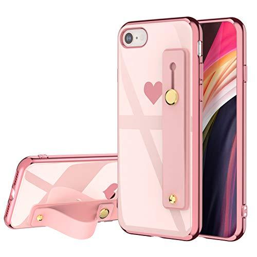 EYZUTAK Funda para iPhone 7 iPhone 8 iPhone SE 2020, caja galvanizada Love Heart Slim Flexible Soft TPU Hand Wrist Strap Wristband Bracket Lanyard shockproof Durable Cover - Rosa # 1