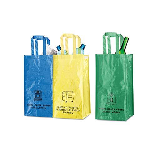 TIENDA EURASIA Bolsas de Reciclaje Reutilizables - Pack 3 Bolsas de 23x45x23 cm Plástico / Vidrio / Papel - Velcro Lateral para Unir las Bolsas - Asas Reforzadas
